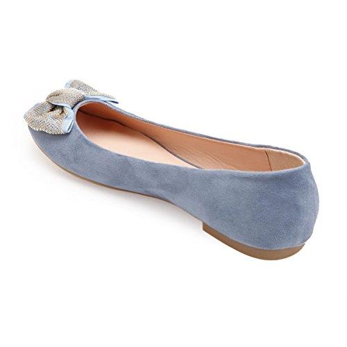 Suédine Rond Plates Bleu Modeuse Bout en Ballerines La à vSIxH67q7z