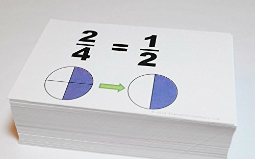 New Beginning GRAPHICAL FRACTIONS SIMPLIFICATION Math Flash Cards- W/ Pie Charts best buy
