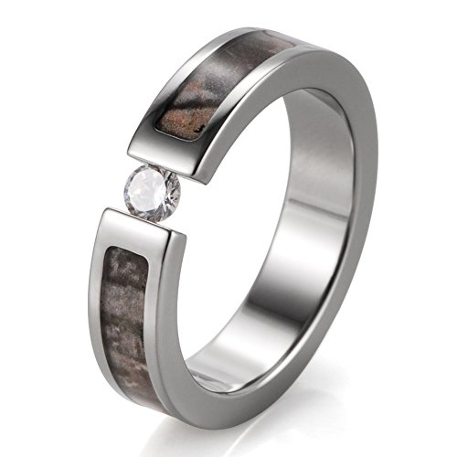 SHARDON Women's 5mm Titanium Tension Set Wedding Tree Camo Ring with White CZ Stone Size 9 (Real Tree Wedding Ring Set)