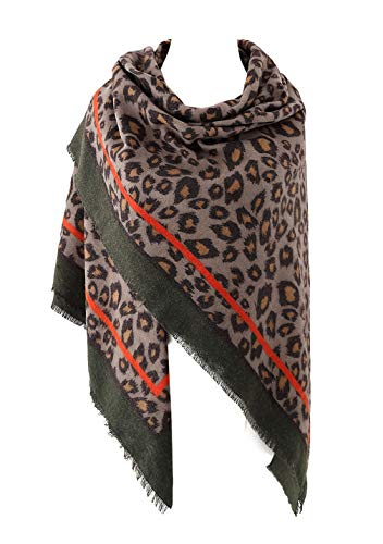 Women's Leopard Print Blanket Square Wrap Scarf (Army Green)