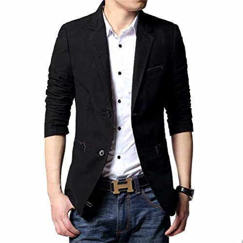 Men's Blazer Jacket Slim Fit One Button Sport Coat Notch Lapel Casual Business Solid Single Breasted Outwear (Black, ()