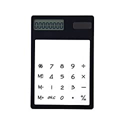 TOYMYTOY Transparent Calculator Solar Energy Led Calculator Touch Screen Panel with LCD School Office Supplies (Black)