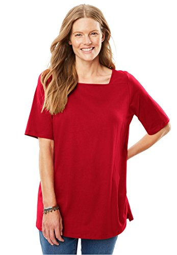 Womens Plus Size Perfect Square Neck Tee Shirt Classic Red 1X