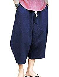 Banana Bucket Men's Patchwork Shorts Loose Linen Harem Capri Pants