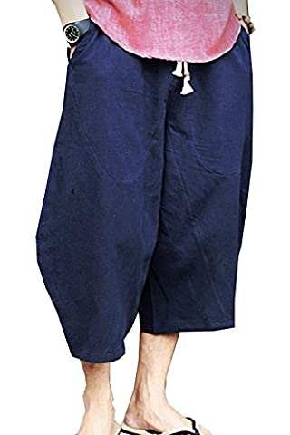 Banana Bucket Men's Patchwork Shorts Loose Linen Harem Capri Pants, Dark Blue, 3XL - Blue Patchwork Shorts