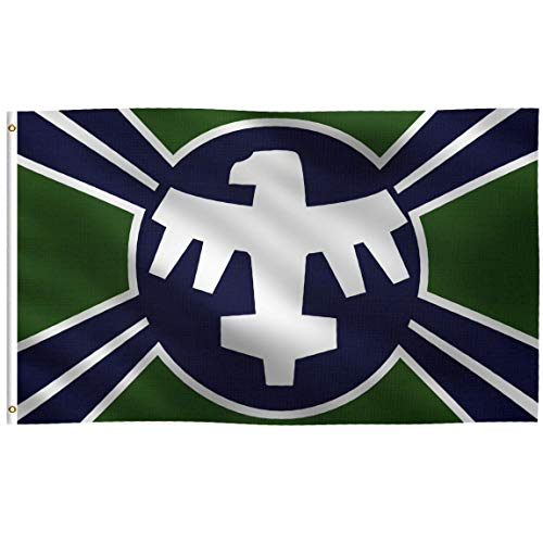 - K-AXIS 3x5 Foot Starship Troopers Mobile Infantry Inspired Flag: 100% Polyester Banner, Strong Canvas Header with 2 Brass Grommets, UV Resistant Vibrant Digital Print, for Use Outdoor or Indoor