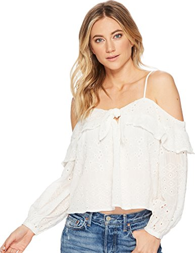 Shoulder Strap Eyelet (ASTR the label Women's Kimberly Cold Shoulder Tie Front Long Sleeve Eyelet Ruffle Top, Ivory, Extra Small)