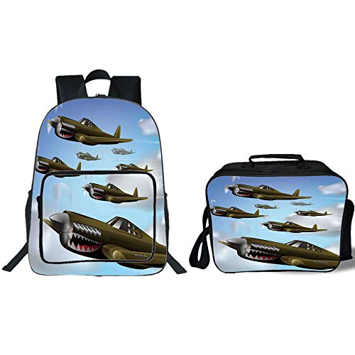 iPrint 19'' School Backpack & Lunch Bag Bundle,Airplane Decor,Fighter Aircrafts Up in The Air Combat Fight Battle Machinery Wings Illustration,Blue Green Grey,for Boys Girls by iPrint