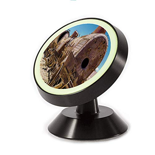 Magnetic Dashboard Cell Phone Car Mount Holder,Train Locomotive Cemetery Railroad Wreck Picture,can be Adjusted 360 Degrees to Rotate,Phone Holder Compatible All Smartphones (Telephone Locomotive)