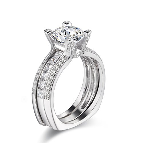 Newshe Jewellery 2.9ct Round White Cz 925 Sterling Silver Wedding Band Engagement Ring Sets Size 5