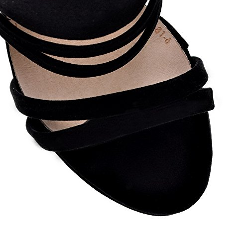 AmoonyFashion Womens Imitated Suede Solid Buckle Open Toe High-Heels Sandals Black 8NnE0cr