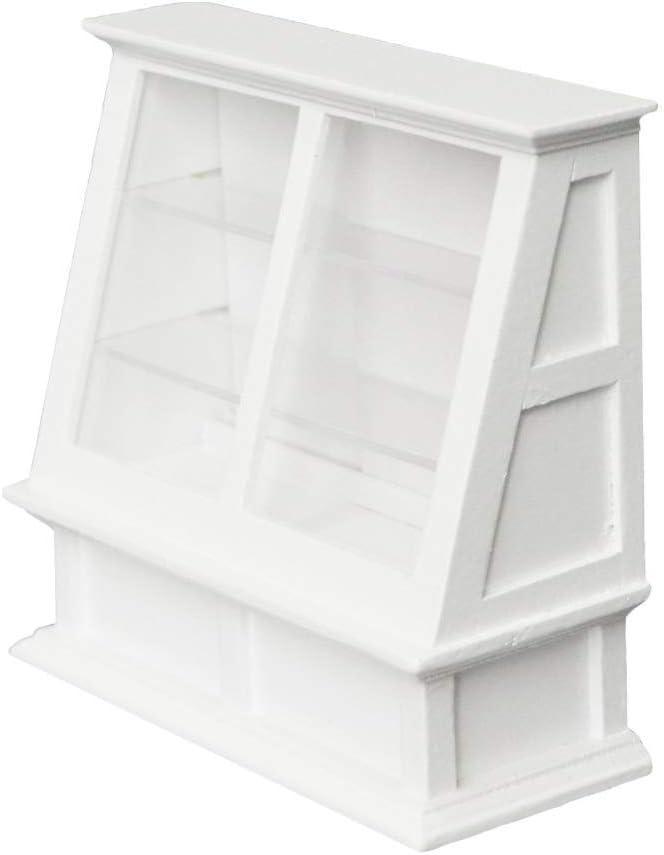 Shuohu 1/12 Scale Miniature Dollhouse Furniture Accessories,Food Cake Shelf Displaying Cabinet - White