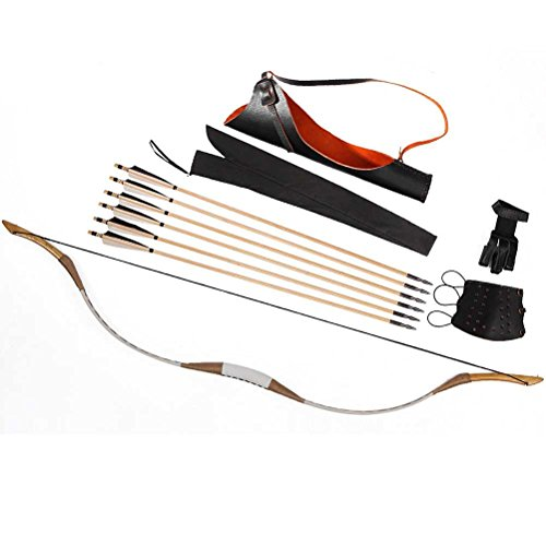 PG1ARCHERY Traditional Recurve Bow, Archery Pigskin Longbow One Piece Handmade Horsebow with Wooden Arrows & Back Quiver & Arm Guard & Finger Tab 25lbs