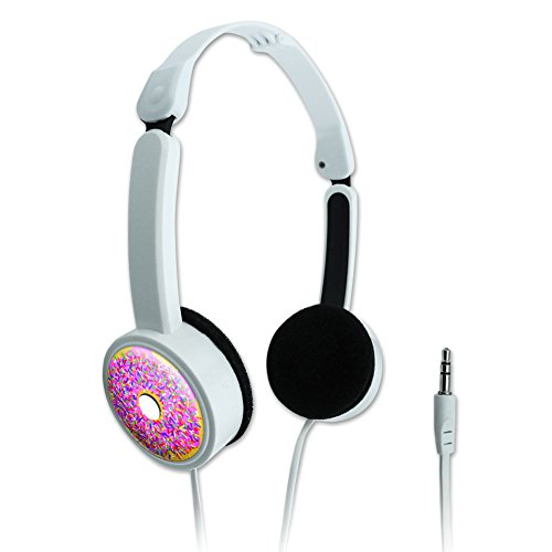 Novelty Travel Portable On-Ear Foldable Headphones Food Drink Bacon Coffee - Pink Donut Sprinkles]()