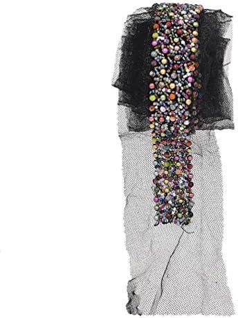(ライチ) Lychee 1.8m ケミカルレース リボン 飾りレース 生地 モザイク パール 縫製 DIY 服 工芸品の装飾 パッチ ドレス ワンピース スカート 素材 (カラフル)