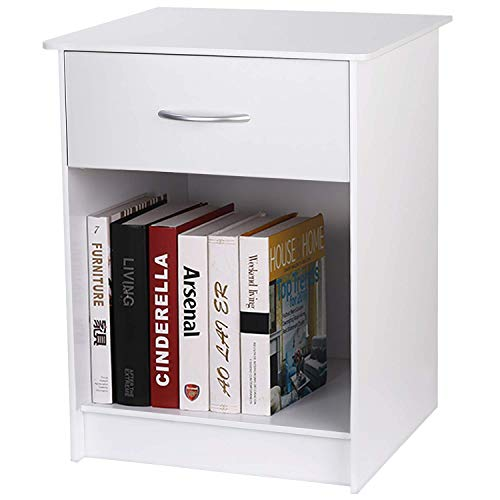 INTEY White Night Stand with Drawer, End Table for Living Room Bedroom, Bedside Table with Open Storage Shelf
