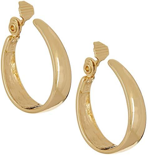 (Napier Women's Gold EZ Comfort Clip Oval Hoop Earrings)