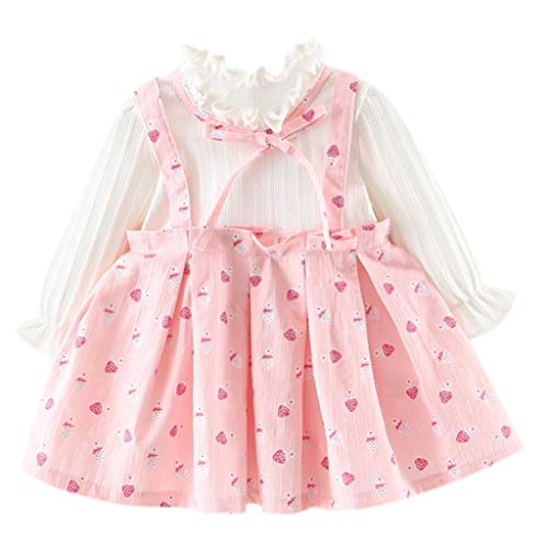 (Girls Dresses Baby Toddler Kids Long Sleeve Ruffle Printed Bow Clothes Outfit for 0-2 Years (0-6 Months, Pink))