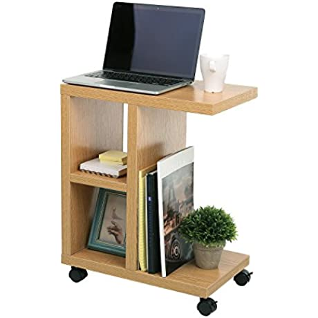 Natural Wood Rolling End Table With Organizing Storage Shelves