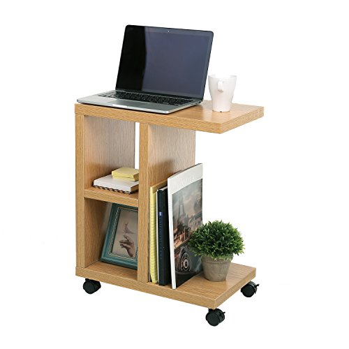 Tall Natural Wood (Natural Wood Rolling End Table with Organizing Storage Shelves)