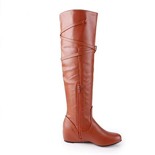 Imitated Boots Ladies Leather BalaMasa Brown Heighten Round Inside Buckle Toe CPgwYq