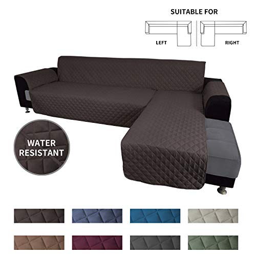 Easy-Going Sofa Slipcover L Shape Sofa Cover Sectional Couch Cover Chaise Lounge Slip Cover Reversible Sofa Cover Furniture Protector Cover for Pets Kids Children Dog Cat (Small,Chocolate/Chocolate)