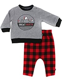 Mini Heroes - Baby Boys' 2-Piece Great North Popover and Buffalo Check Pant Set
