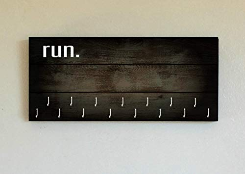 Race Medal Holder/Running Medal Hanger RUN- Wood Wall Mounted Medal Organizer. CUSTOMIZATION Available