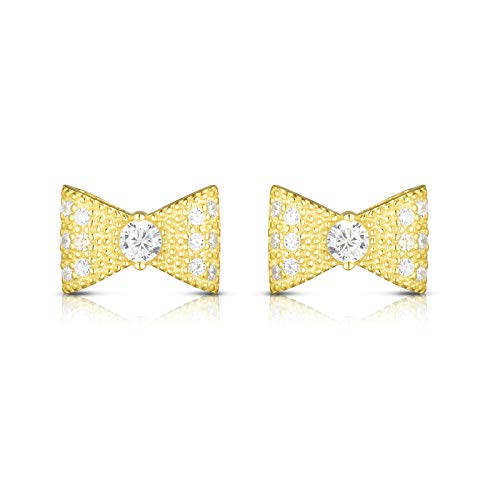 (Unique Royal Jewelry 925 Sterling Silver Cubic Zirconia Bow Tie Ribbon Designer Post Stud Earrings. (14K Yellow Gold Plated Sterling Silver))
