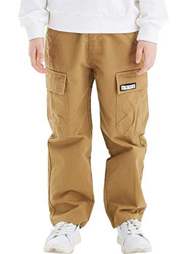 BYCR Boys' 100% Cotton Multi Pocket Chino Cargo Pants for Kids Size 5-18 (Khaki, 140 (US Size 8))