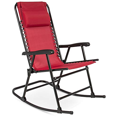 Best Choice Products Foldable Zero Gravity Rocking Patio Recliner Lounge Chair w/ Headrest Pillow - Red