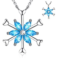 Forever Queen Frozen Snowflake Platinum Plated 925 Sterling Silver Rotatable Necklace (18