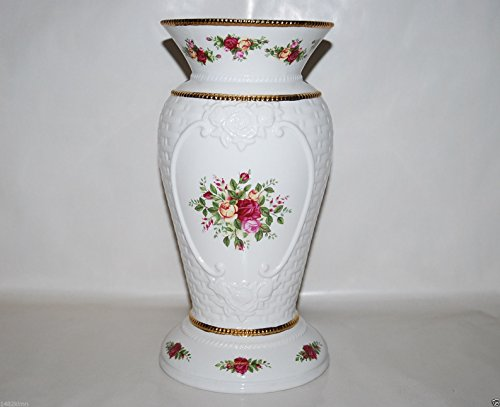ROYAL ALBERT OLD COUNTY ROSE 14'' BASKET WEAVE VASE (NEW) (LARGE) by Royal Albert