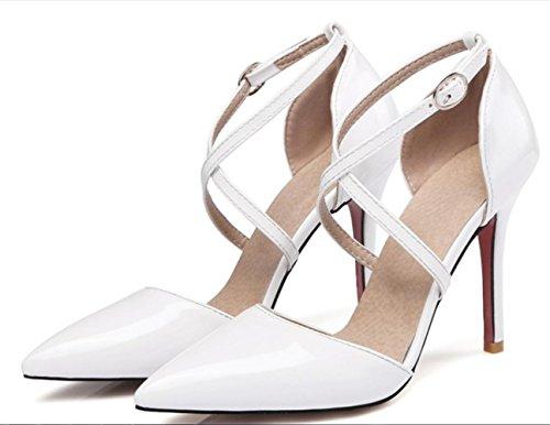 CSDM DONNE grandi stilo a forma di tacco puntato piede scarpe da sposa scarpe da sposa alto tacchi Sandalss giallo bianco rosa nudo nero , white , 46 custom 2-4 days do not return