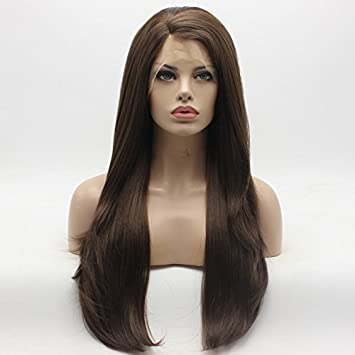 Amazon.com   Lace Front Synthetic Wig Straight Long 24inch Two Tone Brown  Mix Wig Hand Tied Realistic Wigs   Beauty fd8e5cc33966