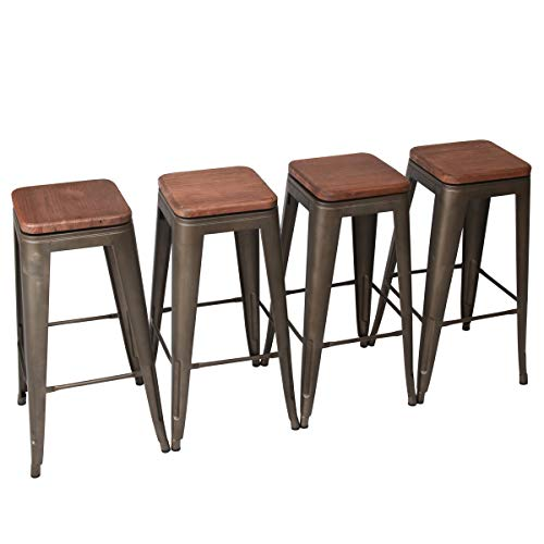 Yongchuang Metal Backless Counter Bar Stool for Indoor-Outdoor Pack of 4 30 , Swivel Wooden Seat Backless