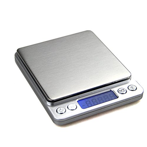(UNIWEIGH Digital Kitchen Scale, 500g/0.01g Pro Cooking scale with Back-Lit LCD Display, Accuracy Pocket Food Scale, 6 Units, Auto Off, Tare, PCS Function, Stainless Steel, Batteries Included (Silver))