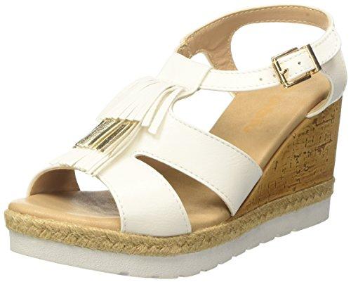 Inblu EV000025, Sandalias de Cuña Mujer Blanco