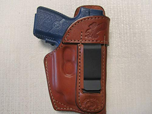 KAHR PM9 & CM9 with CT Laser, iwb, Formed Brown Leather Holster with Shield
