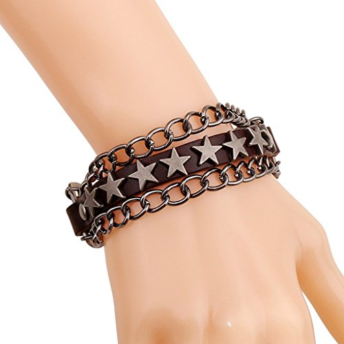 Hit Girl Costume Uk (Bishilin Original Innovative Retro Punk Rock Star Jewelry Dark Brown Leather Cuff Wrap Bangle Bracelets)
