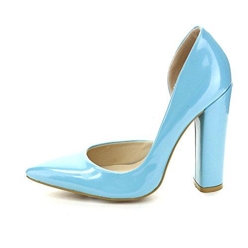 C Étiquette Tavi-1 Femmes Bout Pointu Chunky Talon Partie Dorsay Pompes, Bleu, 7.5