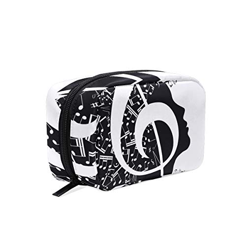 Makeup Bag Black White Music Note Women Face Cosmetic Pouch Clutch -