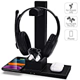 FutureCharger PU Leather Gaming Headset Stand 2-in-1 Fast Wireless Charger with Detachable Earphone Stand Qi Fast Wireless Charging Pad for Airpods Bluetooth Earphone (Black)