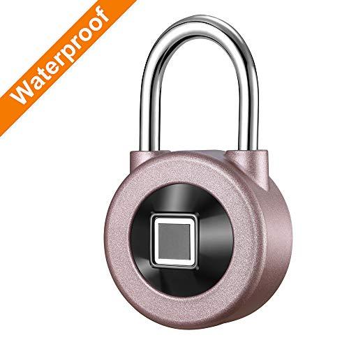 Kacul Fingerprint Padlock,Smart Metal Waterproof iOS/Android APP Smart Remote Control Keyless Luggage Lock for Bag,Door,Backpack,Bike (Rose) (rs001) by Kacul (Image #1)