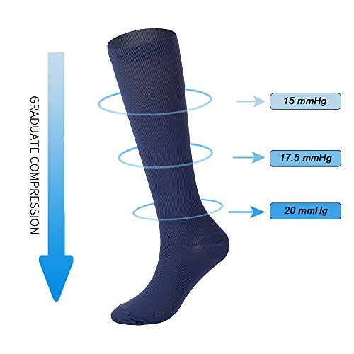 1586c09fde 6 Pairs Knee High Graduated Compression Socks For Women and Men (15-20mmHg)