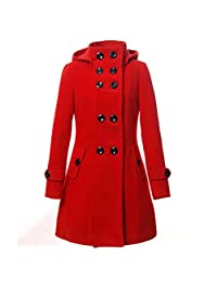 KMFEEL Women's Wool Blend Double Breasted Long Jacket Hood Coat US S-XL