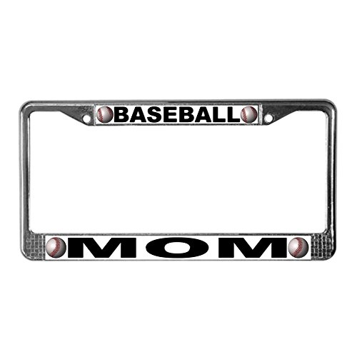 CafePress - Baseball Mom Chrome Steel License Plate Frame - Chrome License Plate Frame, License Tag Holder - Baseball License Plate Plates Tags