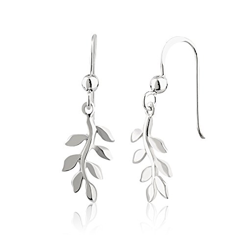 (925 Sterling Silver Single Nature Inspired Leaf Leaves Branch Dangle Earrings, 30mm)