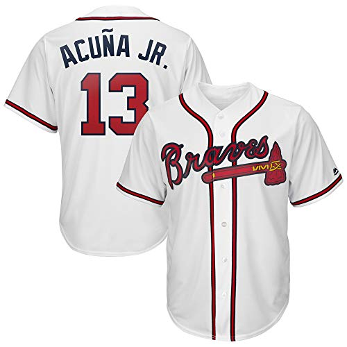 Men's Stitched #13_Ronald_Acuña_Jr_Atlanta_Braves_Player_Jersey (White, M)