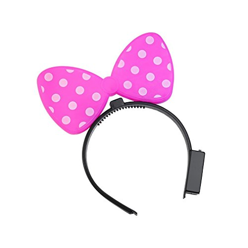 LED Flashing Women's Girl's Light Polka Dot Bow Novelty Party Ribbon Headband Event Costume Hair Band(pink) (Blinky Flashing Lights)